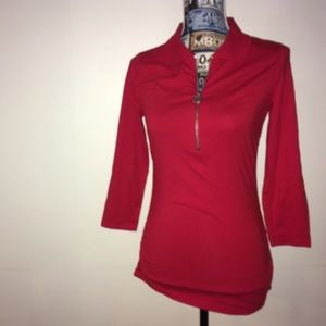 MK Michael Kors PM zip Henley  with ruched sides
